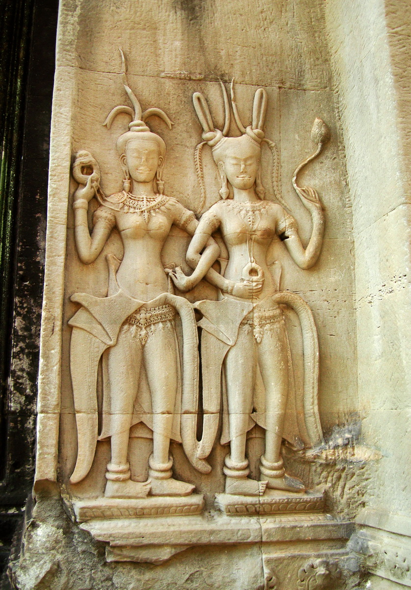 Angkor Wat Khmer architecture bas relief devatas Siem Reap 25