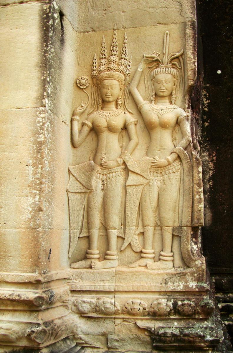 Angkor Wat Khmer architecture bas relief devatas Siem Reap 27