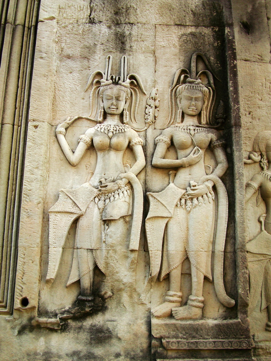 Angkor Wat Khmer architecture bas relief devatas Siem Reap 28