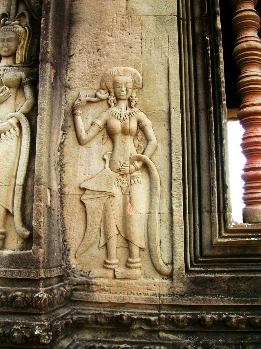 Angkor Wat Khmer architecture bas relief devatas Siem Reap 29