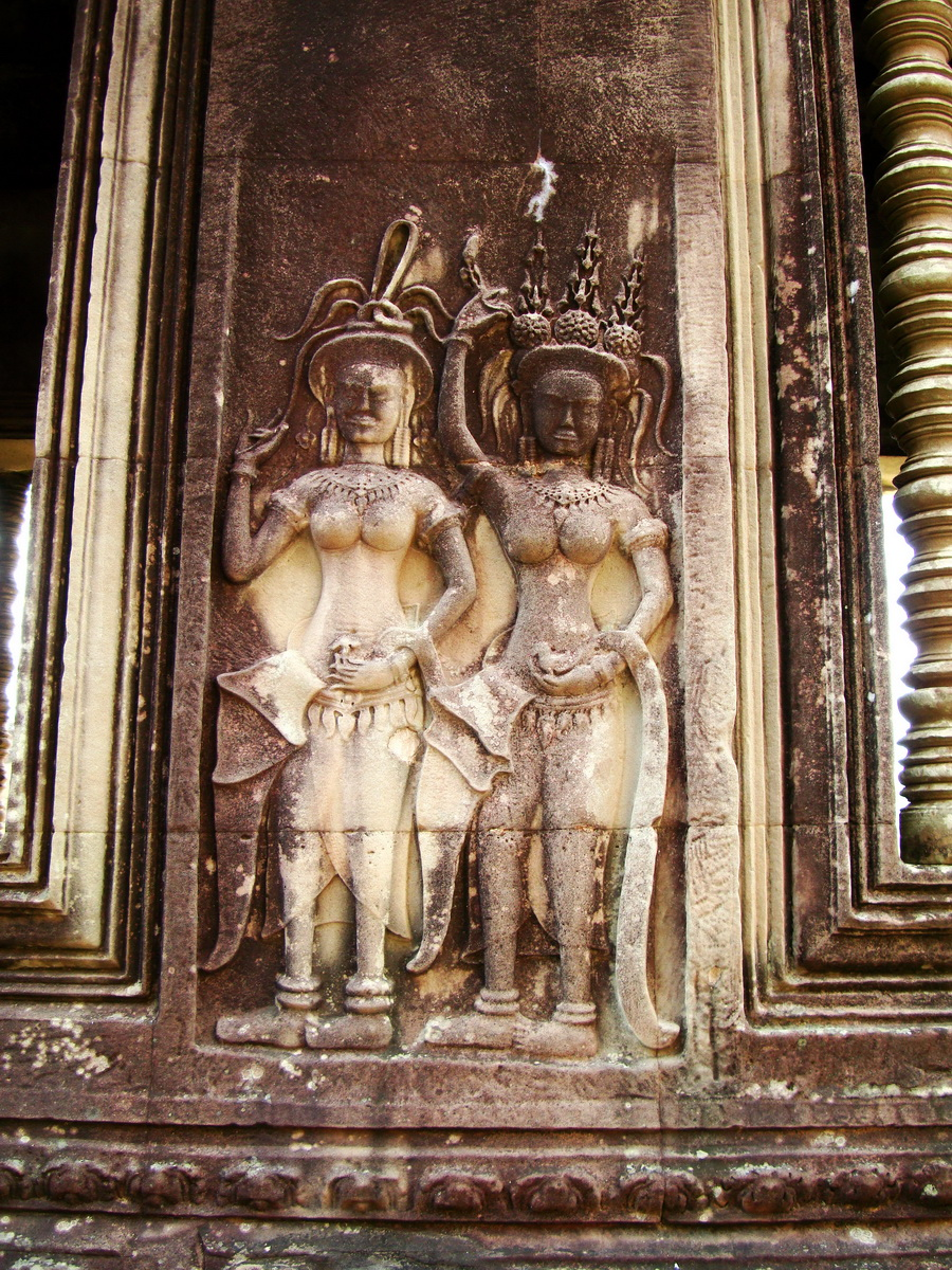 Angkor Wat Khmer architecture bas relief devatas Siem Reap 31