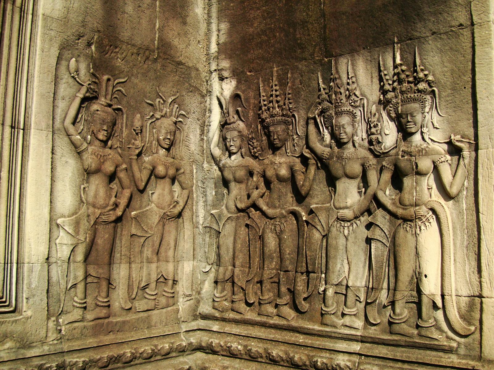 Angkor Wat Khmer architecture bas relief devatas Siem Reap 47