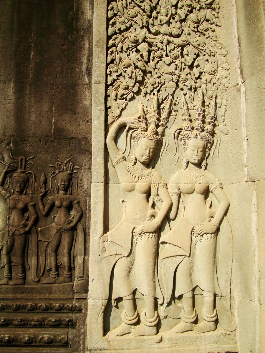 Angkor Wat Khmer architecture bas relief devatas Siem Reap 48