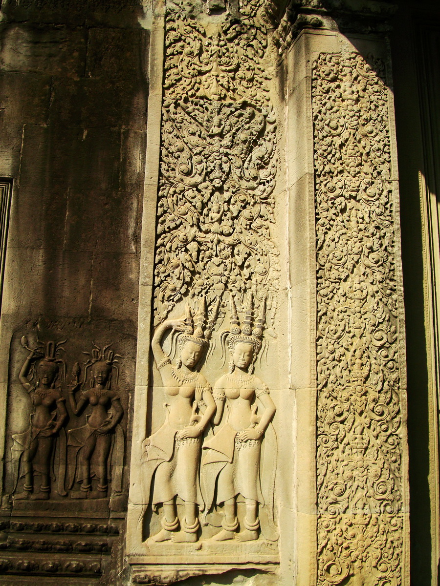Angkor Wat Khmer architecture bas relief devatas Siem Reap 49