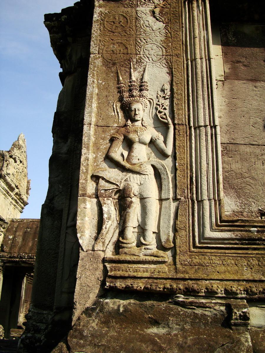 Angkor Wat Khmer architecture bas relief devatas Siem Reap 50