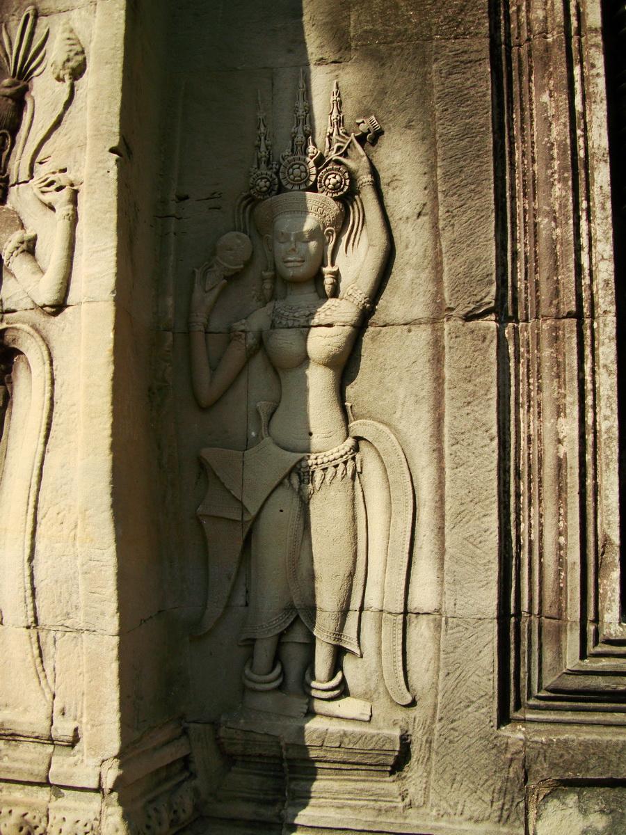 Angkor Wat Khmer architecture bas relief devatas Siem Reap 55