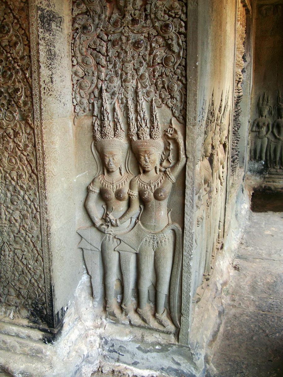 Angkor Wat Khmer architecture bas relief devatas Siem Reap 57