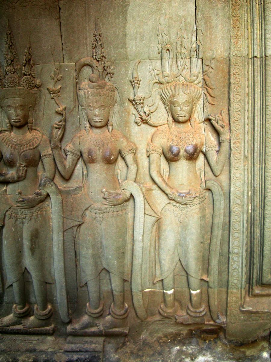 Angkor Wat Khmer architecture bas relief devatas Siem Reap 59