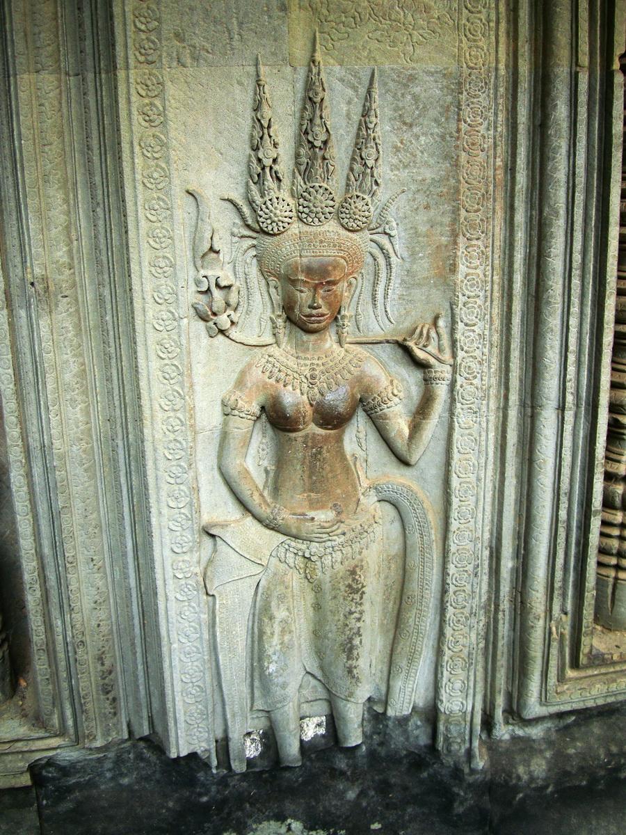 Angkor Wat Khmer architecture bas relief devatas Siem Reap 64