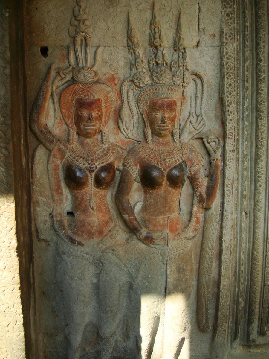 Angkor Wat Khmer architecture bas relief devatas Siem Reap 68