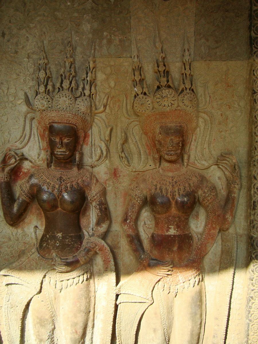 Angkor Wat Khmer architecture bas relief devatas Siem Reap 69