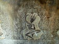 Asisbiz Decorative Khmer Style bas relief dancing apsaras Angkor Wat 01