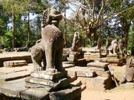 Asisbiz B Banteay Kdei Temple terrace with naga balustrade lion guardians Angkor 01