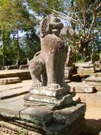 Asisbiz B Banteay Kdei Temple terrace with naga balustrade lion guardians Angkor 02