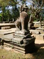 Asisbiz B Banteay Kdei Temple terrace with naga balustrade lion guardians Angkor 03