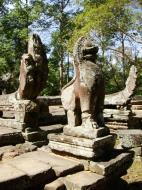 Asisbiz B Banteay Kdei Temple terrace with naga balustrade lion guardians Angkor 04