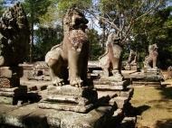 Asisbiz B Banteay Kdei Temple terrace with naga balustrade lion guardians Angkor 05