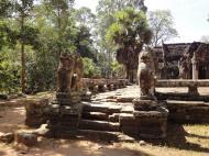 Asisbiz B Banteay Kdei Temple terrace with naga balustrade lion guardians Angkor 06