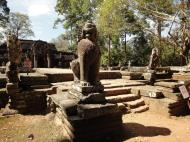 Asisbiz B Banteay Kdei Temple terrace with naga balustrade lion guardians Angkor 07