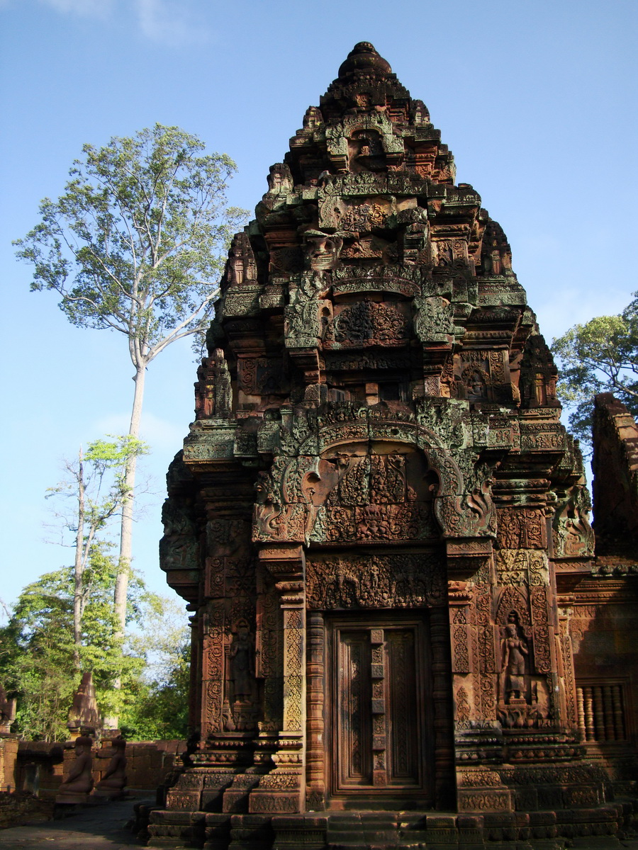 Banteay Srei Temple innately carved sandstone Sanctuary tower 03