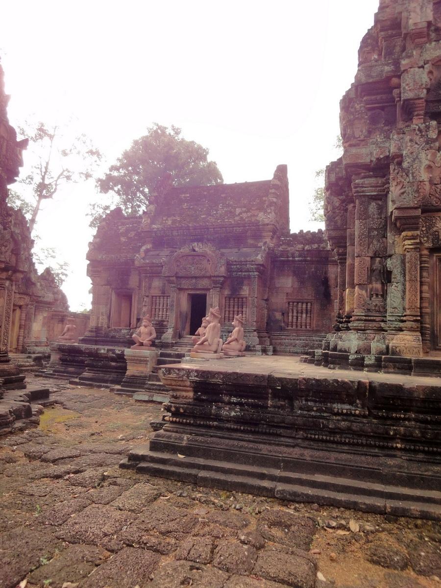 Banteay Srei Temple innately carved sandstone libraries 03