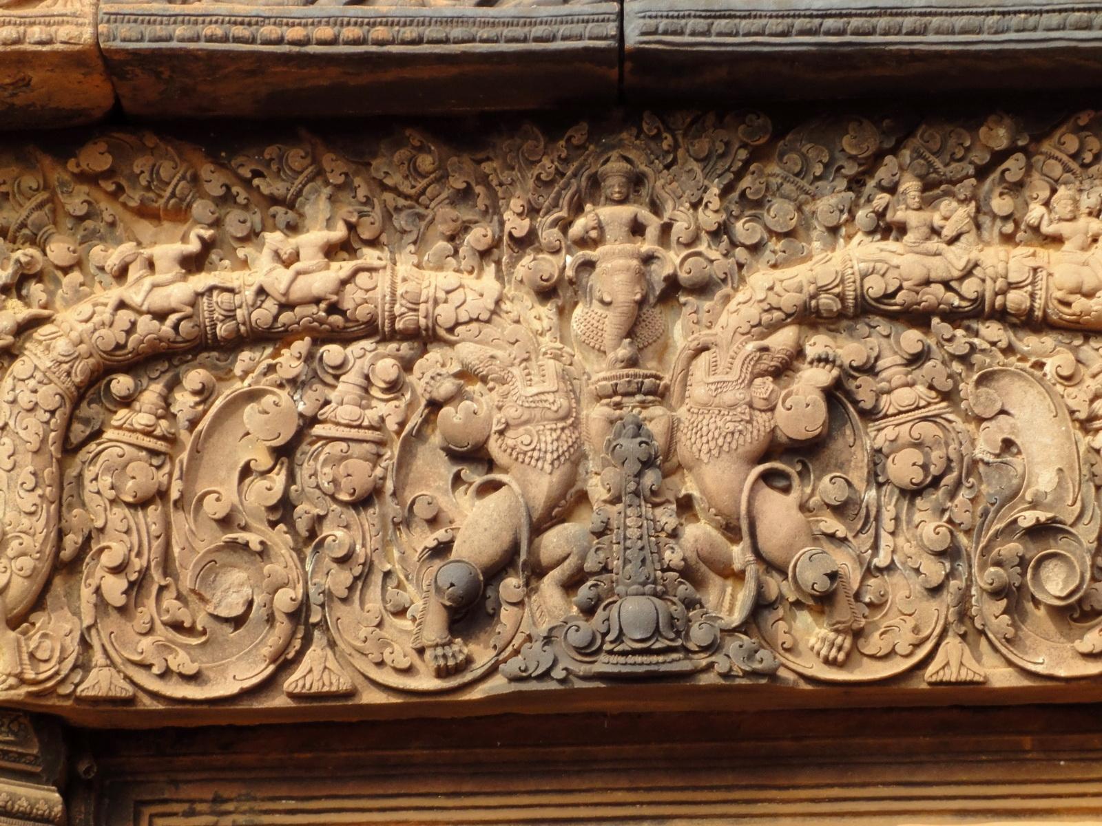 Banteay Srei Temple pediment closeups burning of Khandava Forest 01
