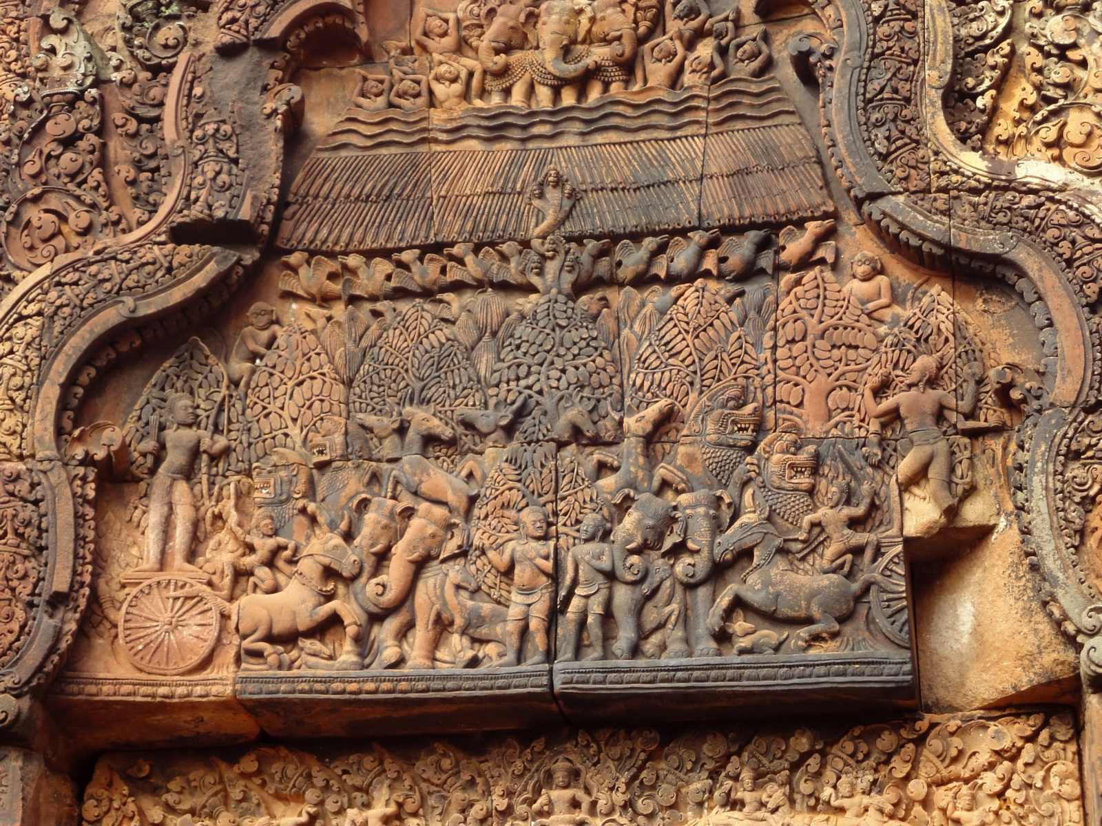 Banteay Srei Temple pediment closeups burning of Khandava Forest 03
