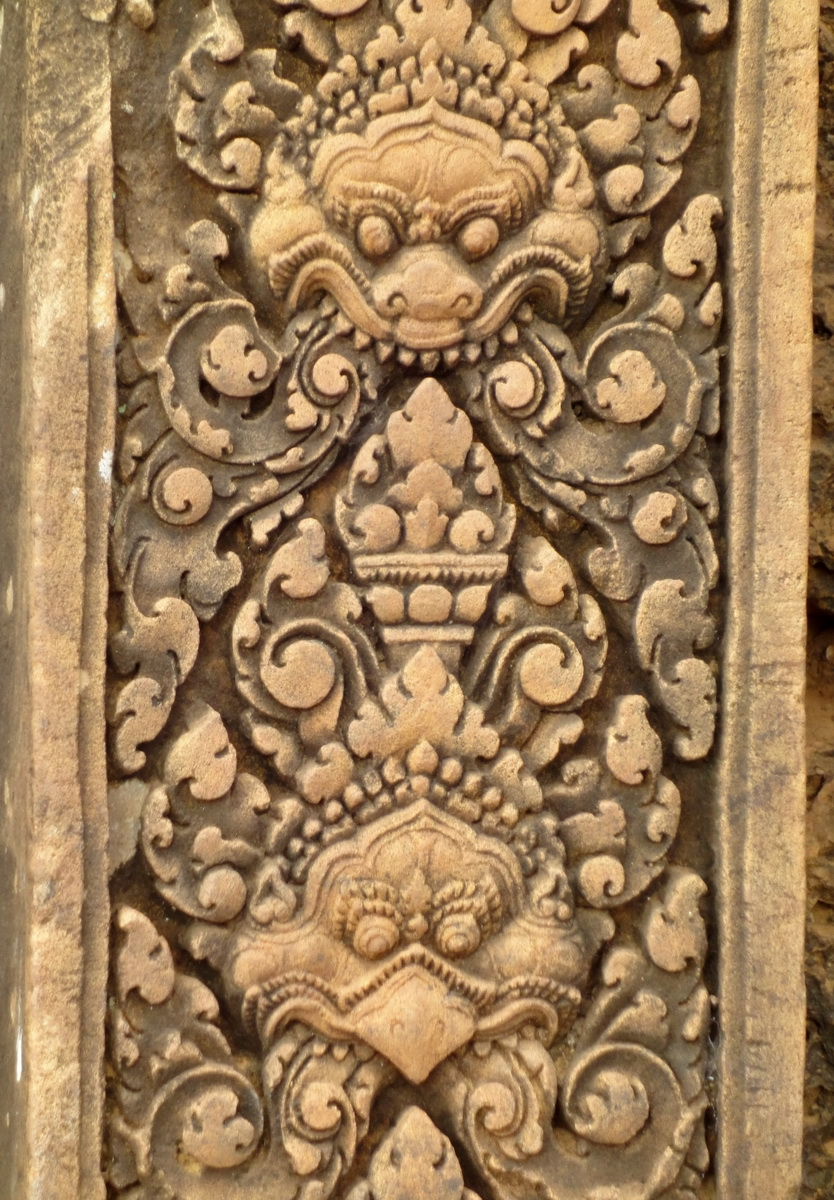 Banteay Srei Temple pediment shows Narasimha and Garuda 01