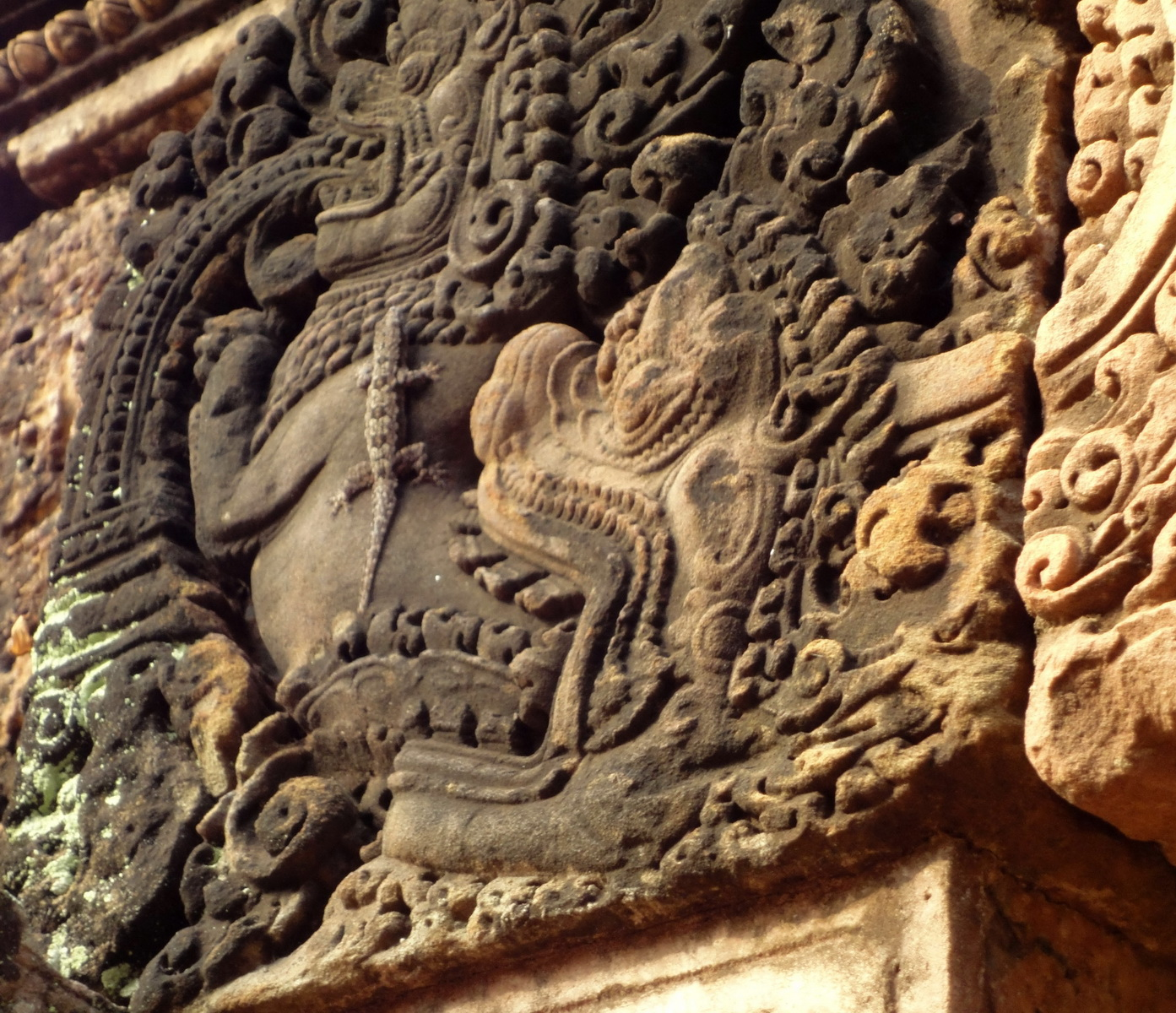 Banteay Srei red sandstone monster about to eat a Gecko 01
