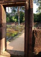 Asisbiz Banteay Srei Hindu Temple red sandstone carved passages 04