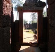 Asisbiz Banteay Srei Hindu Temple red sandstone carved passages 05
