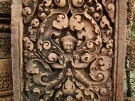 Asisbiz Banteay Srei Hindu Temple red sandstone carved pillars 12