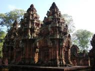 Asisbiz Banteay Srei Temple innately carved sandstone Sanctuary tower 02