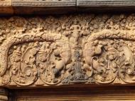 Asisbiz Banteay Srei Temple pediment closeups burning of Khandava Forest 01