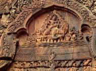 Asisbiz Banteay Srei Temple pediment closeups burning of Khandava Forest 04