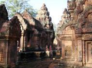 Asisbiz Banteay Srei Temple pediment shows burning of Khandava Forest 04