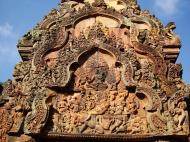 Asisbiz Banteay Srei red sandstone pediment shows Ravana shaking Mount Kailasa 01