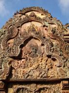 Asisbiz Banteay Srei red sandstone pediment shows Ravana shaking Mount Kailasa 02
