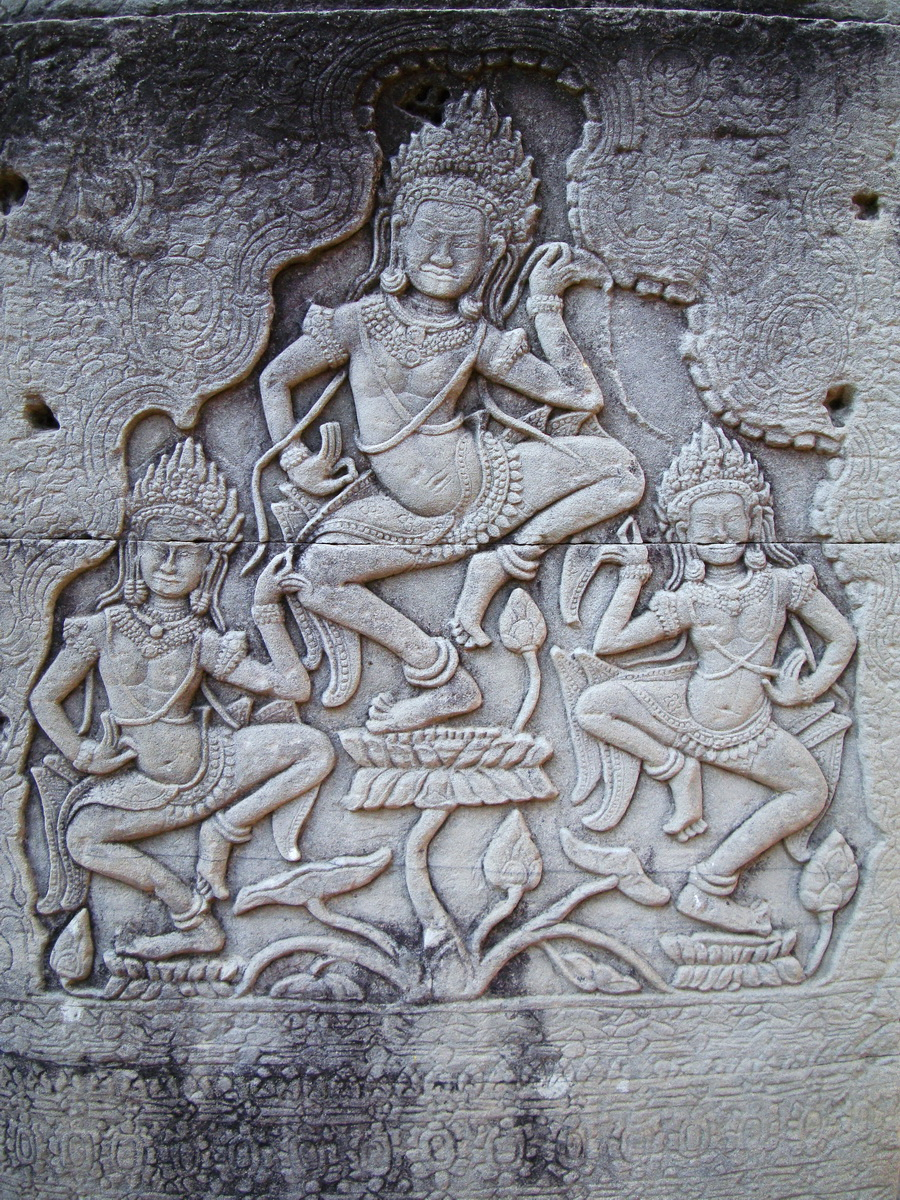 Bayon Temple Bas relief pillars three dancing apsaras Angkor 12