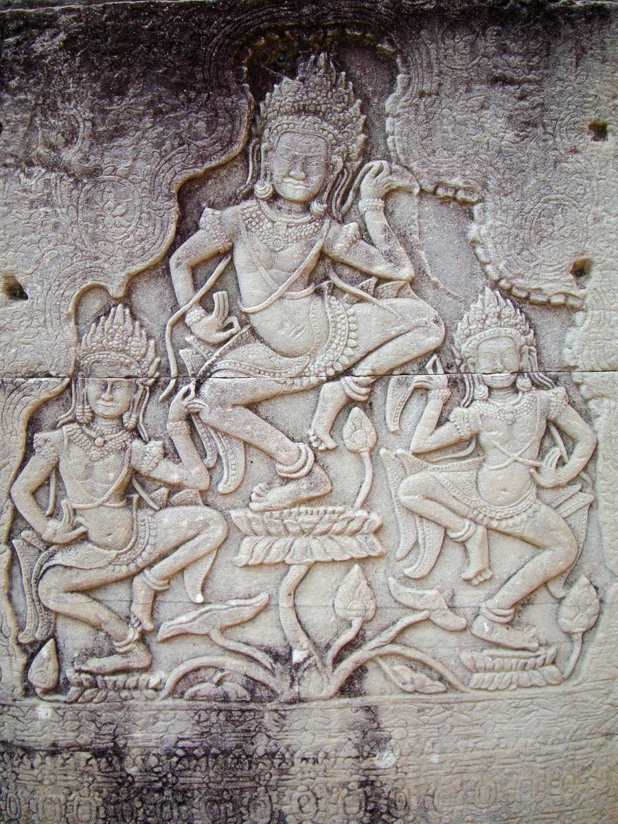 Bayon Temple Bas relief pillars three dancing apsaras Angkor 13