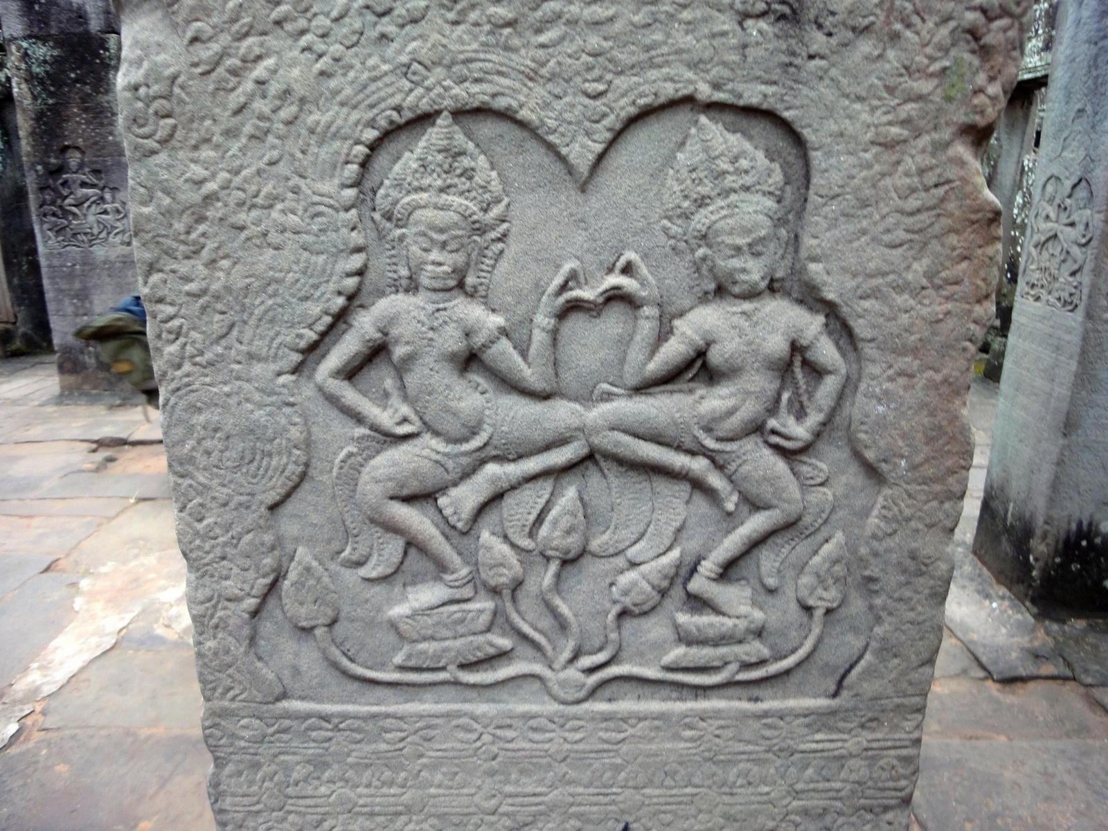 Bayon Temple Bas relief pillars two dancing apsaras Angkor 03