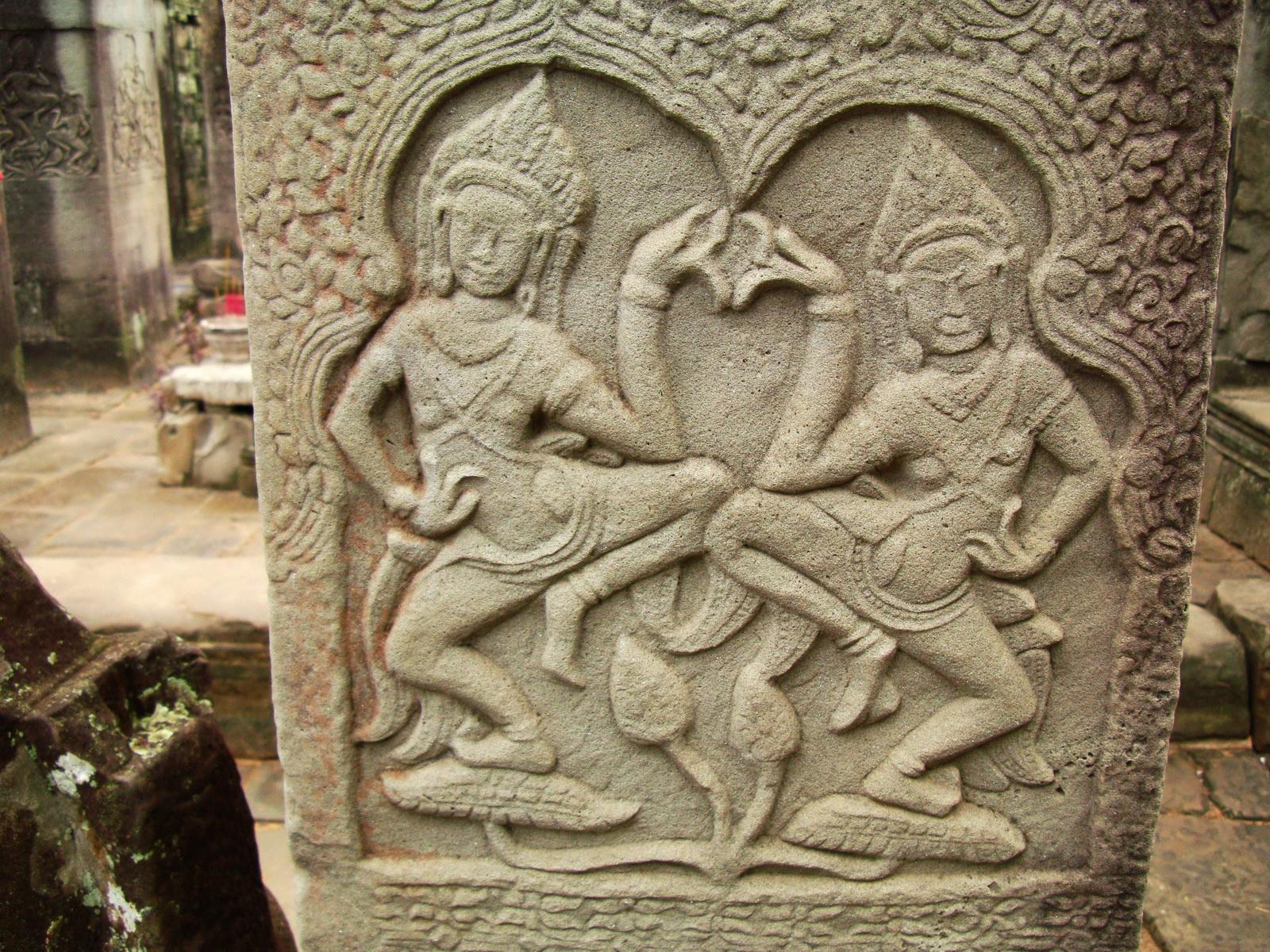 Bayon Temple Bas relief pillars two dancing apsaras Angkor 10