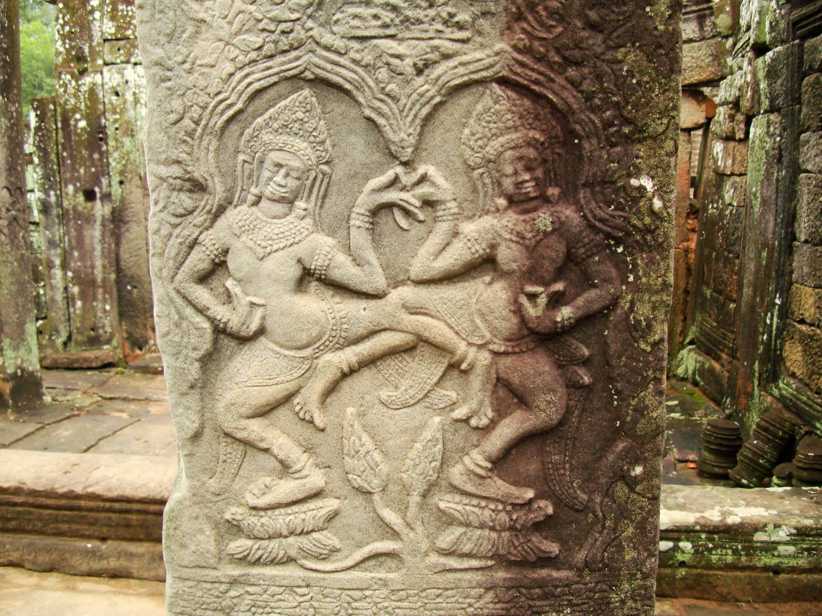 Bayon Temple Bas relief pillars two dancing apsaras Angkor 17