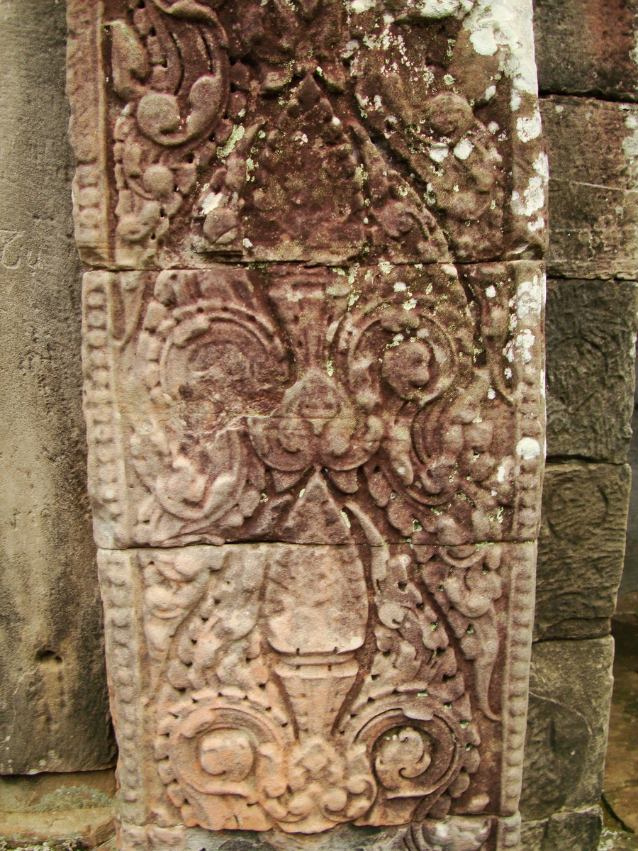 Bayon Temple decorative Bas reliefs Angkor Siem Reap 04