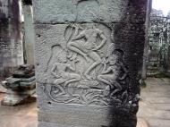 Asisbiz Bayon Temple Bas relief pillars three dancing apsaras Angkor 02
