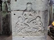 Asisbiz Bayon Temple Bas relief pillars three dancing apsaras Angkor 04
