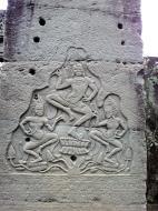 Asisbiz Bayon Temple Bas relief pillars three dancing apsaras Angkor 07