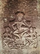 Asisbiz Bayon Temple Bas relief pillars three dancing apsaras Angkor 09