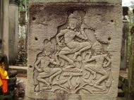 Asisbiz Bayon Temple Bas relief pillars three dancing apsaras Angkor 10