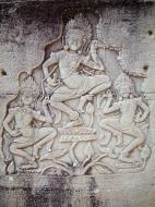 Asisbiz Bayon Temple Bas relief pillars three dancing apsaras Angkor 13